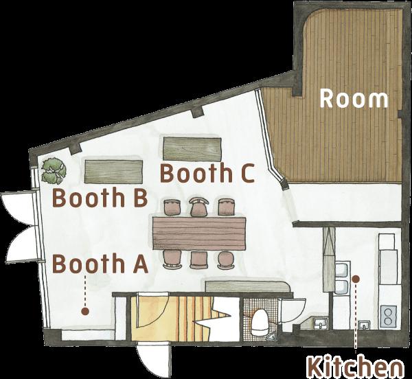 フロアマップ:「Booth A」は、入口の右手にある壁面の棚をご利用いただけます。「Booth B」と「Booth C」は、入口の左手にあるテーブルをそれぞれ1台ご利用いただけます。「Kitchen」は、部屋の奥にあります。コンロ、シンク等のほか、小さなカウンターがあります。「Room」は部屋の奥にある小上がりの個室です。各スペース共有の設備としてトイレ、洗面があります。なお、2階への立ち入りは禁止です。